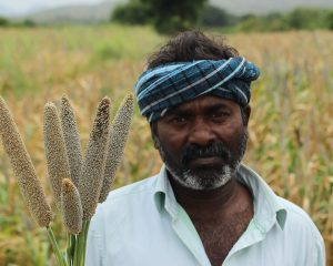 Farmer with Pearl Millet